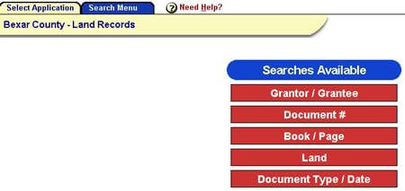 Bexar search menu