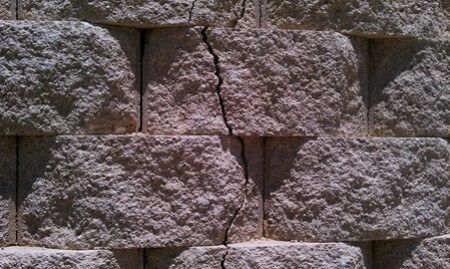Cracked retaining wall at the Heights of Crownridge in San Antonio