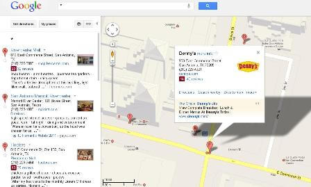 Denny&#039;s restaurant on Google maps in San Antonio