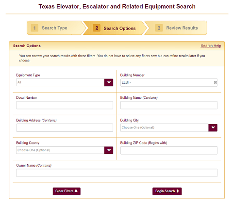 TDLR's elevator inspection search page