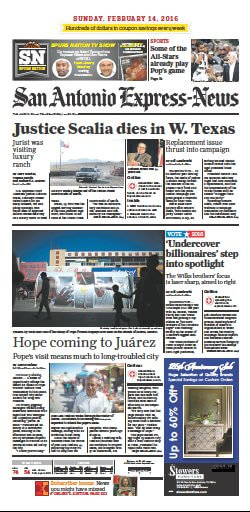 Scalia Front Page in the San Antonio Express-News