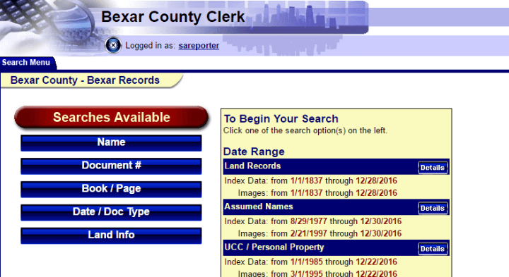 County clerk screenshot