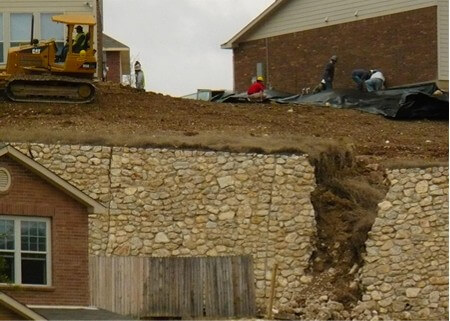 Retaining wall not built to engineering specifications