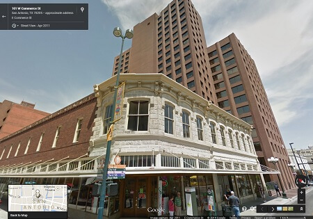 Google map image of the Wolfson Building in downtown San Antonio