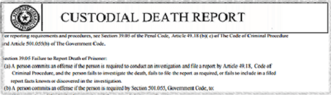 Texas Custodial Death Report for Police